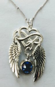 Image of Infinity wings necklace with Sapphire Crystal accent on Sterling silver chain