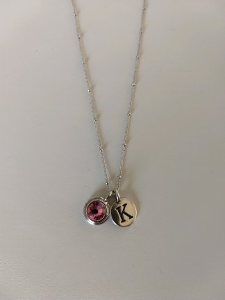 Pewter Initial birthstone necklace on Sterling chain