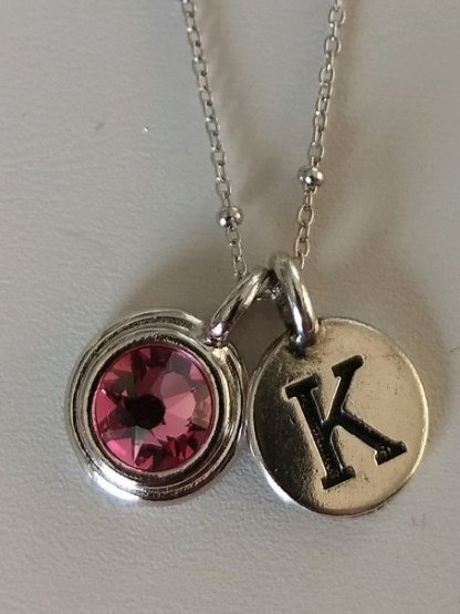 Pewter Initial birthstone Necklace detail
