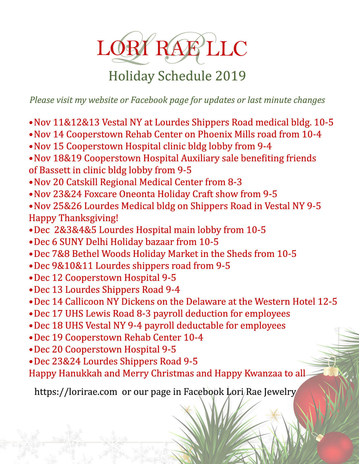 Holiday Schedule 2019
