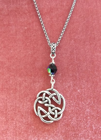 Celtic infinity endless knots with jet ab Crystal accent