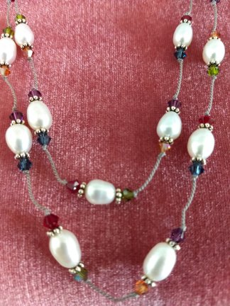 Fresh water pearls and multi crystals 40 inch necklace