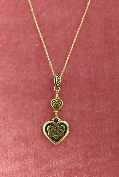 Goldtone Celtic heart pendant