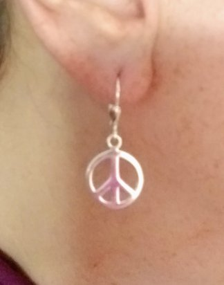 Large Sterling Silver peace sign earrings