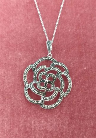 Sterling Silver large marcasite Rose