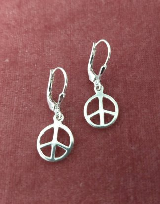Sterling Silver small peace sign earrings