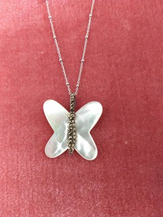 Sterling and marcasite mother of pearl butterfly