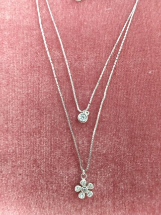 Sterling Silver CZ 2 Strand Necklace
