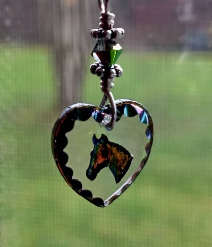 Etched German Glass Horse Pendant Necklace