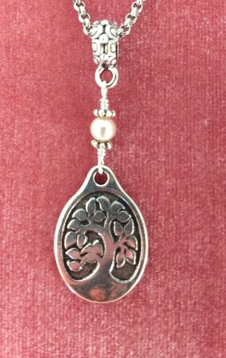 Oval Tree of Life Pendant with Pearl