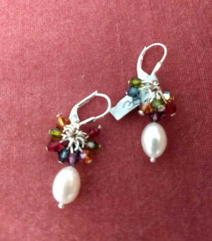 white fresh water pearl and multi Swarovski Crystals