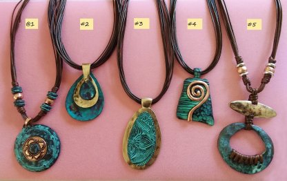 17-20 inch adjustable leatherette patina necklaces