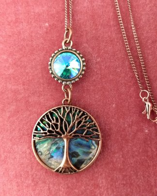 Abalone tree of Life/copper oxidized/glacier blue Crystal