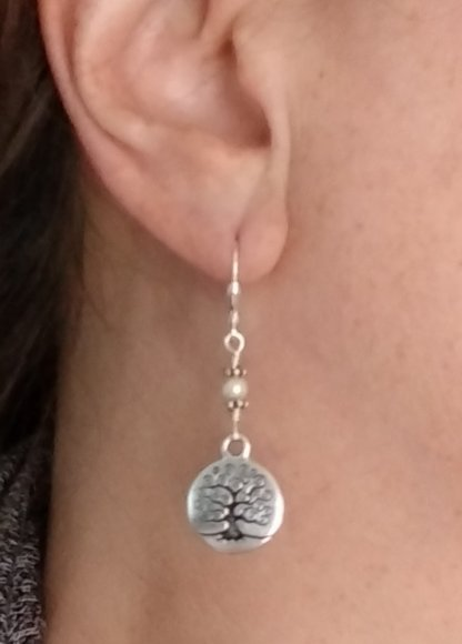 ER Tree of Life pearl on Sterling Silver leverbacks