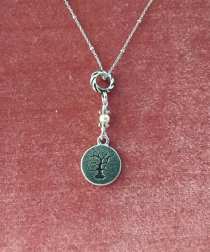 Small tree of Life and pearl pendant on Sterling chain
